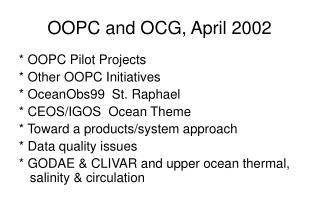 OOPC and OCG, April 2002