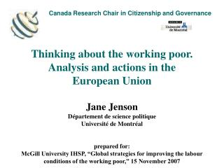 Canada Research Chair in Citizenship and Governance