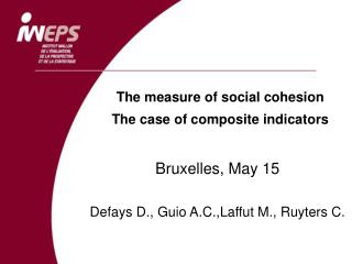 The measure of social cohesion The case of composite indicators