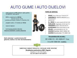 AUTO GUME I AUTO DIJELOVI