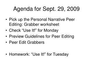 Agenda for Sept. 29, 2009