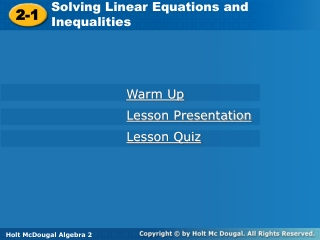 Solving Linear Equations and Inequalities
