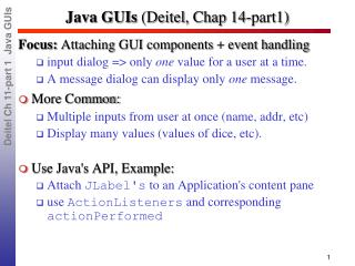 Java GUIs  ( Deitel , Chap 14-part1)