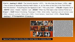 Special  Topics in Popular Culture Studies : James  Tiptree , Jr. & Science  Fiction