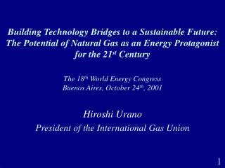 The 18 th  World Energy Congress Buenos Aires, October 24 th , 2001
