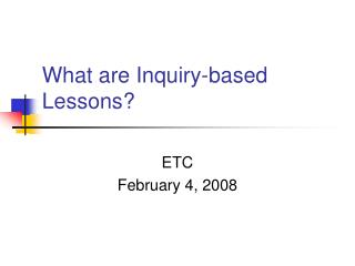 What are Inquiry-based Lessons