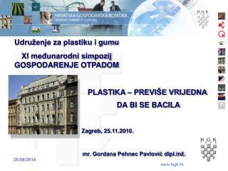Udruženje za plastiku i gumu XI međunarodni simpozij GOSPODARENJE OTPADOM