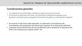GRUPO DE TRABAJO DE INDICADORES AMBIENTALES (GTIA)