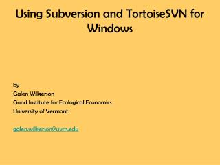 Using Subversion and TortoiseSVN for Windows