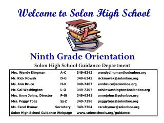 Ninth Grade Orientation