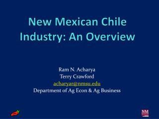 New Mexican Chile Industry: An Overview