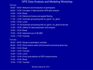 GPS Data Analysis and Modeling Workshop