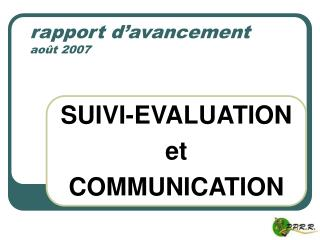 rapport d'avancement août 2007