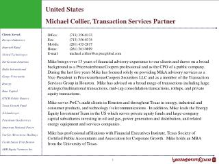 United States Michael Collier, Transaction Services Partner