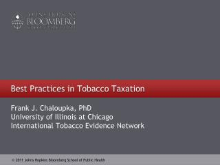 Best Practices in Tobacco  Taxation