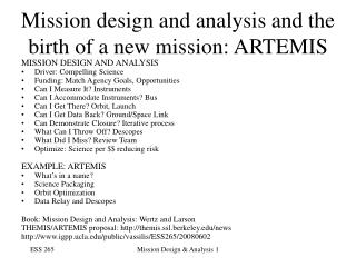 Mission design and analysis and the birth of a new mission: ARTEMIS