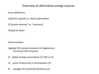 Overview of alternative energy sources