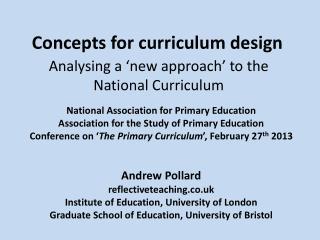 Concepts for curriculum design