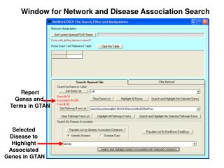 Window for Network and Disease Association Search