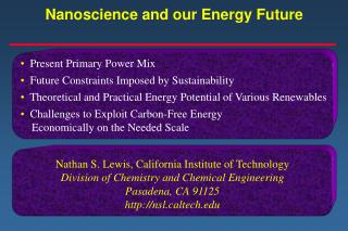 Nanoscience and our Energy Future