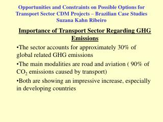 Importance of Transport Sector Regarding GHG Emissions