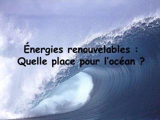 �nergies renouvelables : Quelle place pour l�oc�an ?