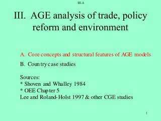III.  AGE analysis of trade, policy reform and environment