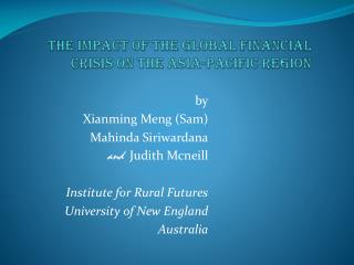 The impact of the global financial crisis on the Asia-Pacific region