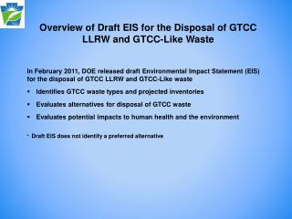Overview of Draft EIS for the Disposal of GTCC LLRW and GTCC-Like Waste