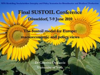 Final SUSTOIL Conference Düsseldorf, 7-9 June 2010 The Sustoil model for Europe: