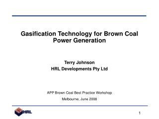 Gasification Technology for Brown Coal Power Generation