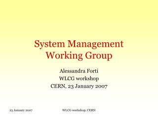 System Management  Working Group