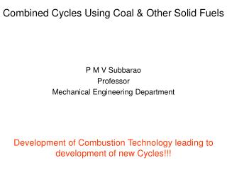 Combined Cycles Using Coal  Other Solid Fuels