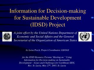 Information for Decision-making for Sustainable Development IDSD Project