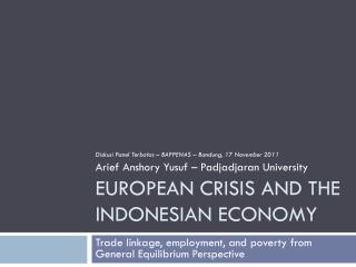 European Crisis and The Indonesian Economy