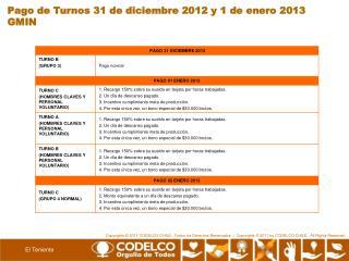 Pago de Turnos 31 de diciembre 2012 y 1 de enero 2013 GMIN