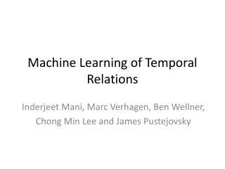 Machine Learning of Temporal Relations