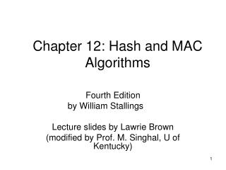 Chapter 12: Hash and MAC Algorithms