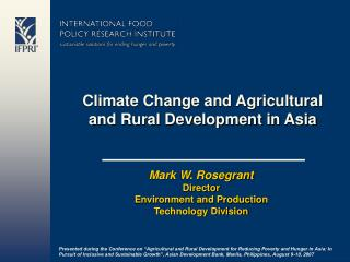 Climate Change and Agricultural and Rural Development in Asia