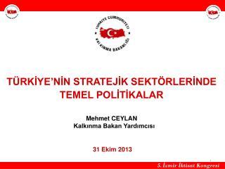 TÜRKİYE'NİN STRATEJİK SEKTÖRLERİNDE TEMEL POLİTİKALAR  Mehmet CEYLAN    Kalkınma Bakan Yardımcısı