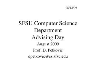 SFSU Computer Science Department Advising Day