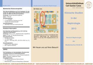 Klinische Studien in der Nephrologie 2013 Bereich Nephrologie der Medizinischen Klinik III