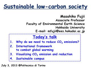 Sustainable low-carbon society