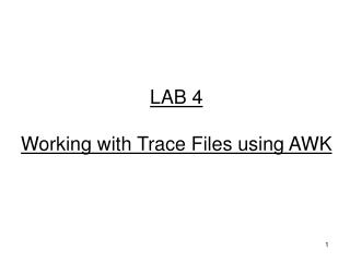 LAB 4 Working with Trace Files using AWK