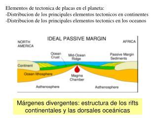Márgenes divergentes: estructura de los rifts continentales y las dorsales oceánicas