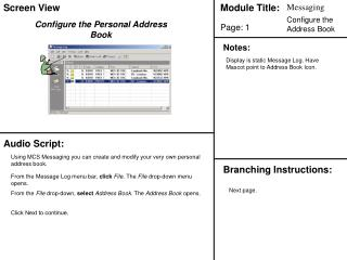 Configure the Personal Address Book
