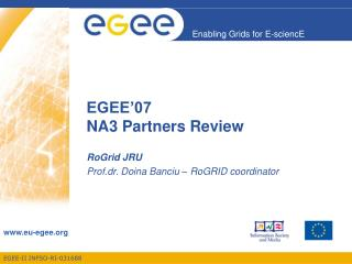 EGEE'07  NA3 Partners Review