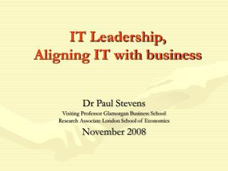IT Leadership,  Aligning IT with business
