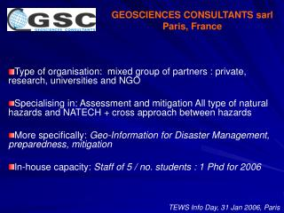 GEOSCIENCES CONSULTANTS sarl Paris, France