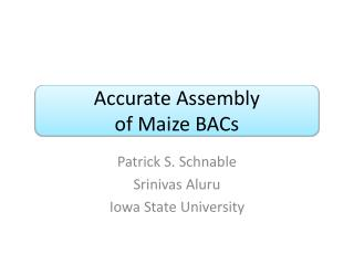 Accurate Assembly  of Maize BACs